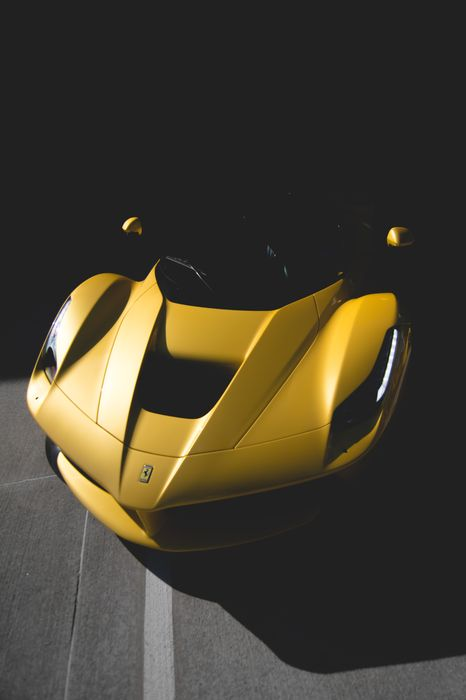 yellow laferrari shadow photo sportscar