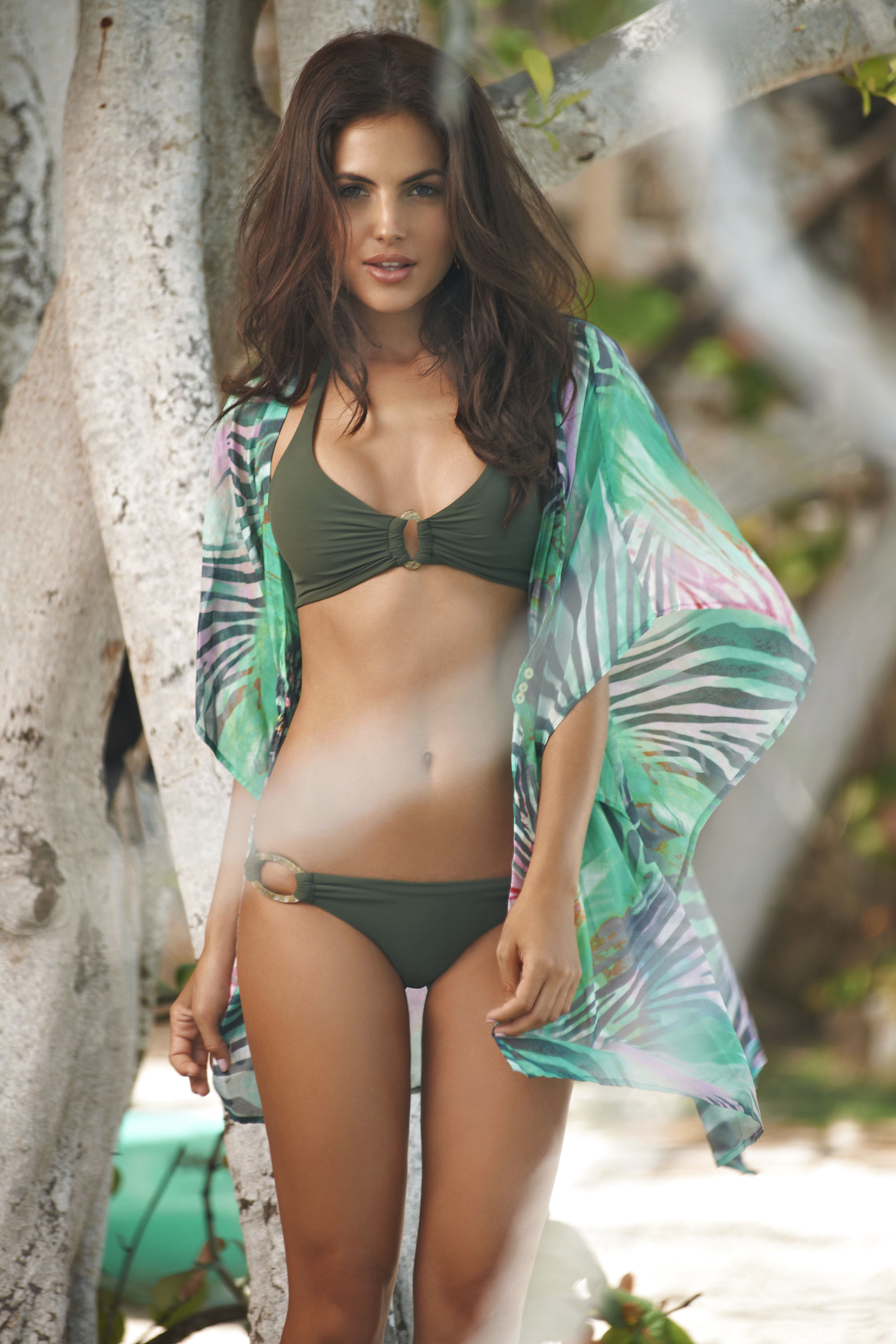 diana morales green bikini swimsuit sexy lingerie body beach