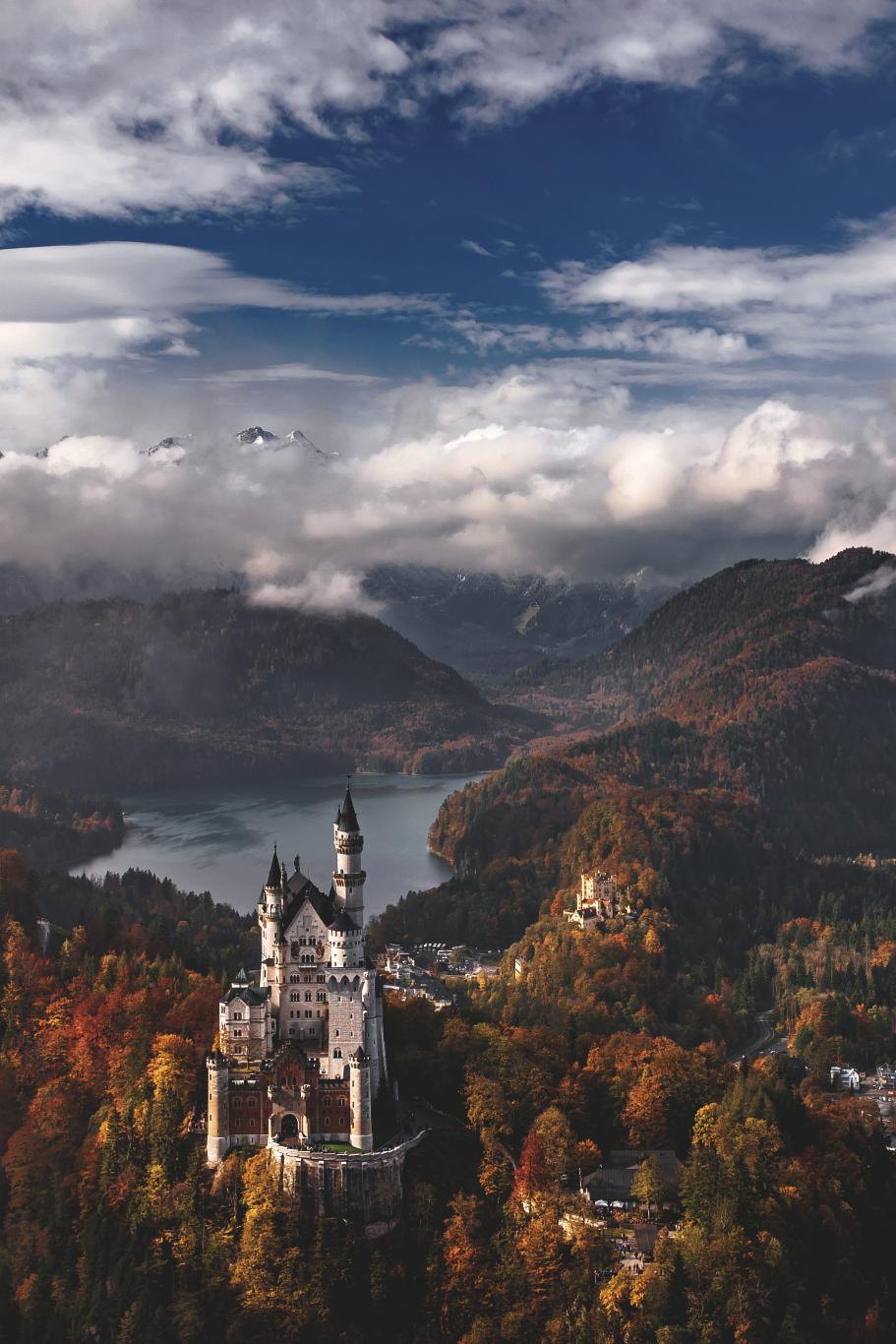 germany castle neuschwanstein bavaria clouds