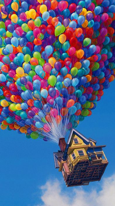 house flying balloons sky 1080x1920