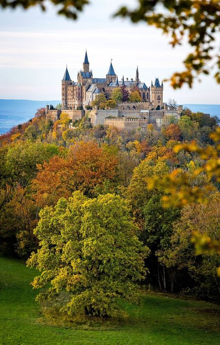 park trees hohenzollern castle view retina