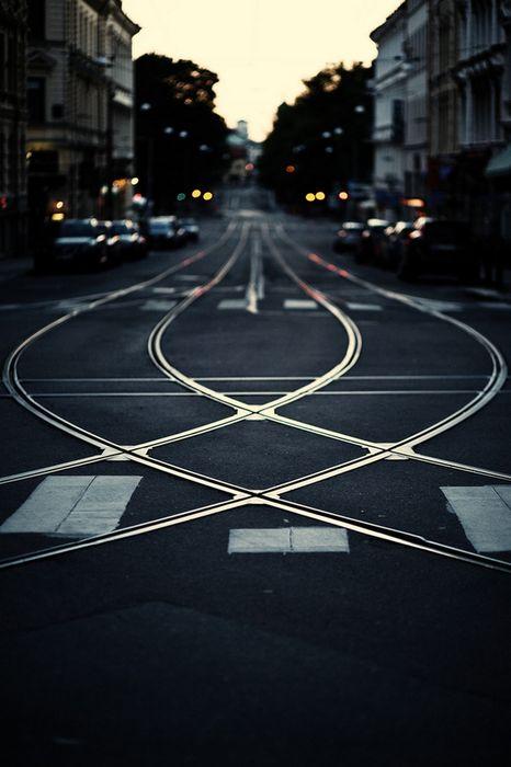 tram rails street