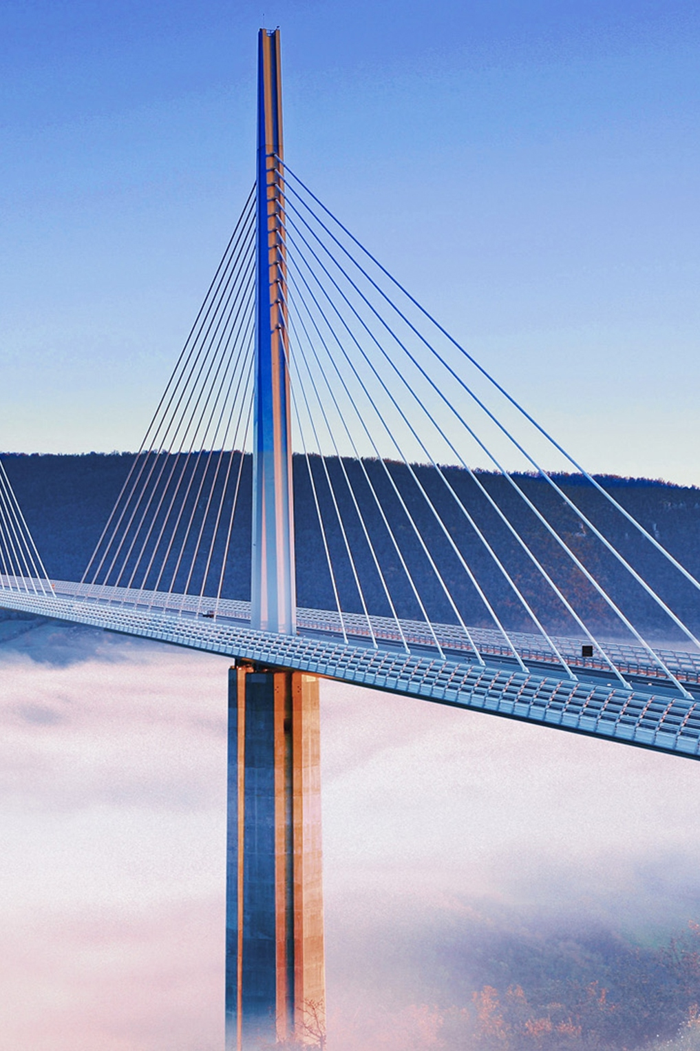 bridge millau viaduct clouds sky business triangle architecture