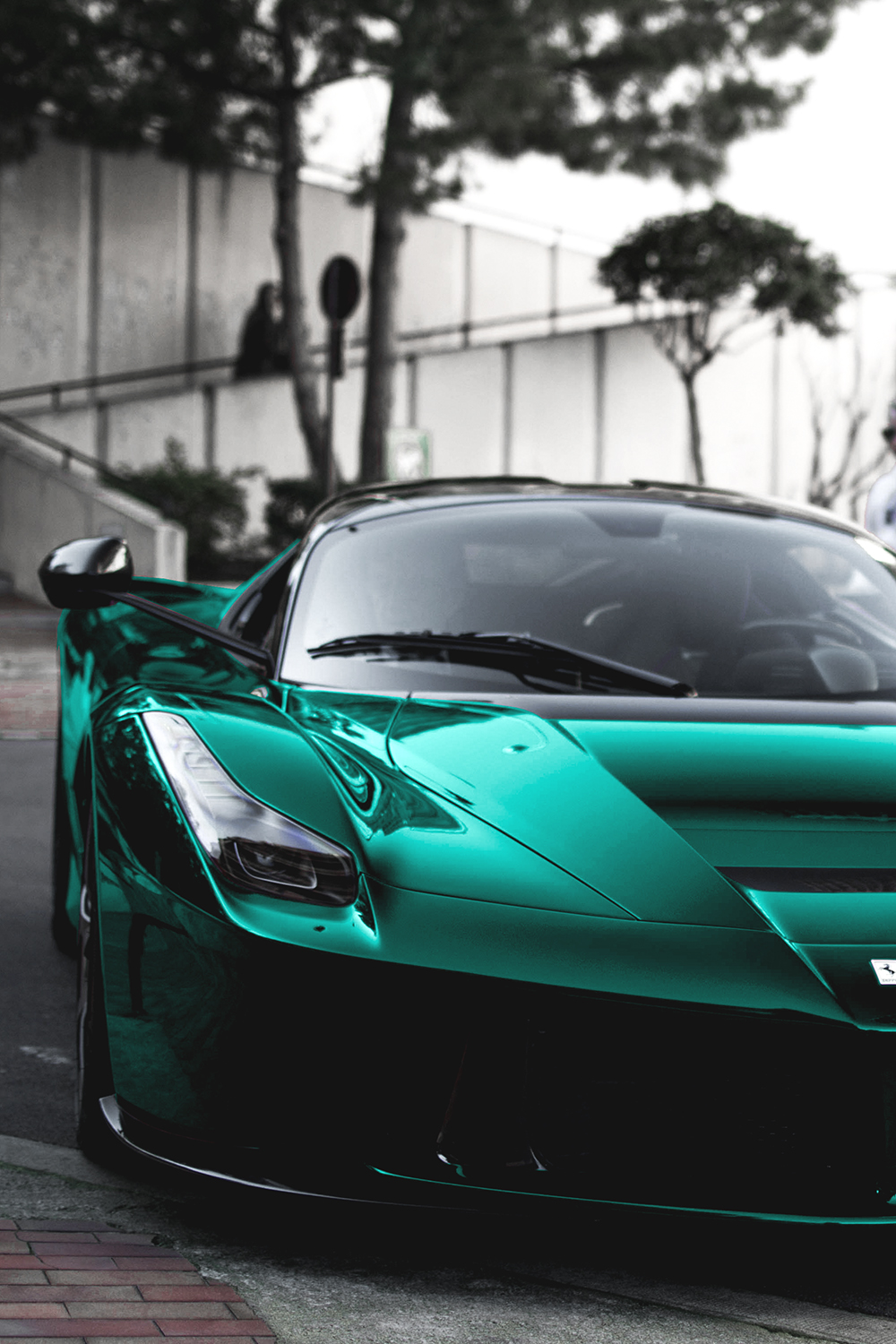car motor ferrari laferrari green color sportscar luxury