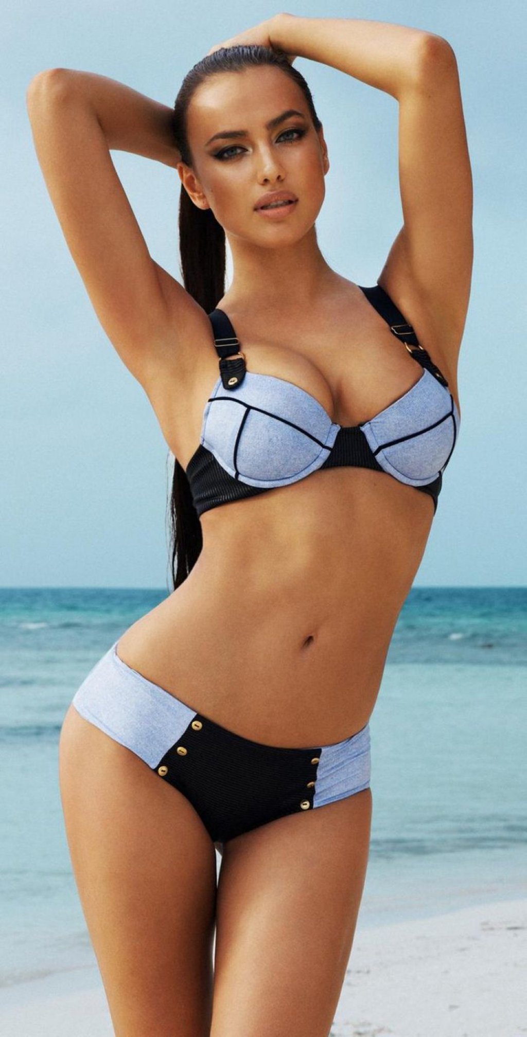girl irina shayk swimsuit black blue ocean beach