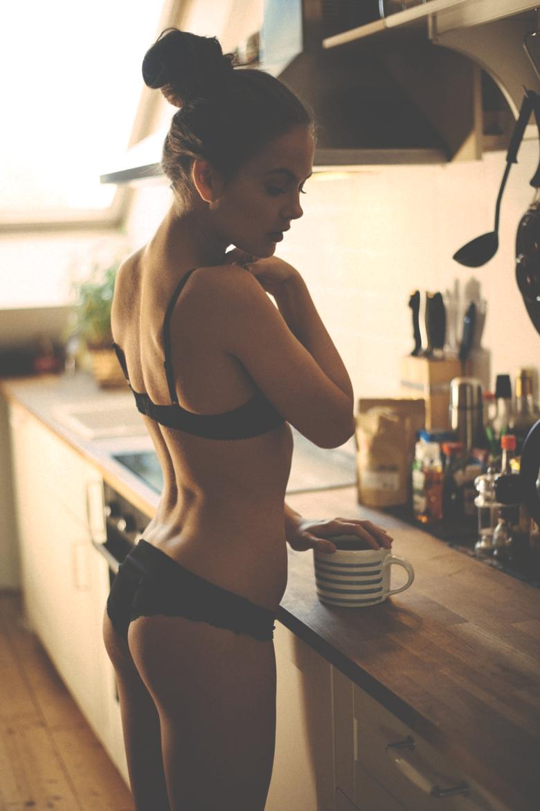 kitchen girl pretty coffee good morning