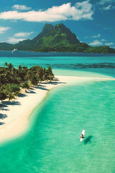 beach bora bora island turquoise sea ocean water coast vacation travel sky