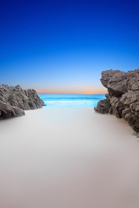 beach wallpaper stones blue ocean clean sand