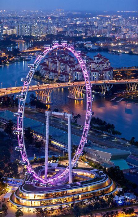 big wheel singapore flyer violet lights retina