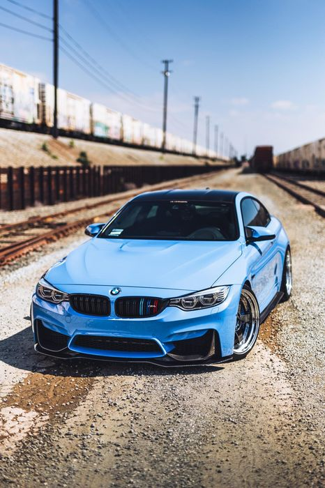 bmw m4 blue urbal sportscar motor auto speed drive