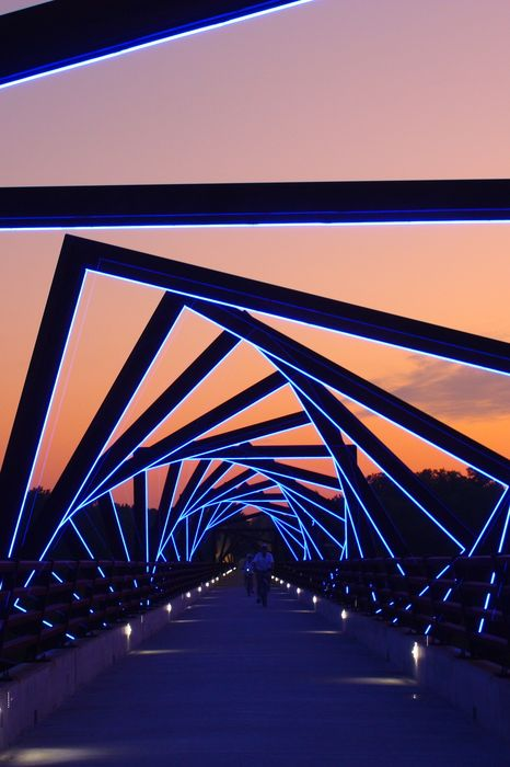 bridge geomerty lights blue sunset