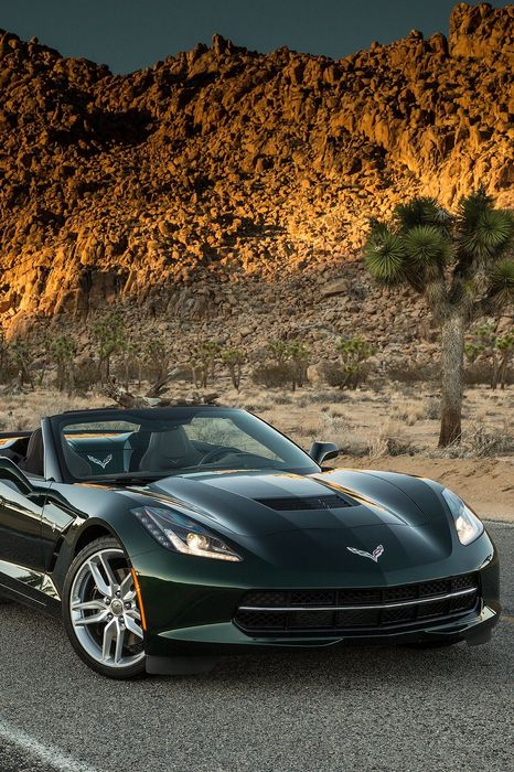 corvette stingray sportscar green mountain desert