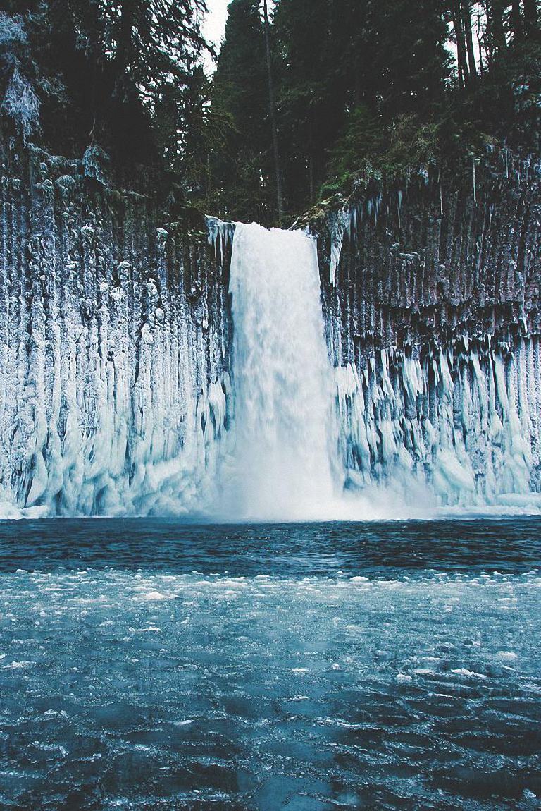 abiqua falls oregon crystal ice solid cold snow frost frozen winter cool waterfall