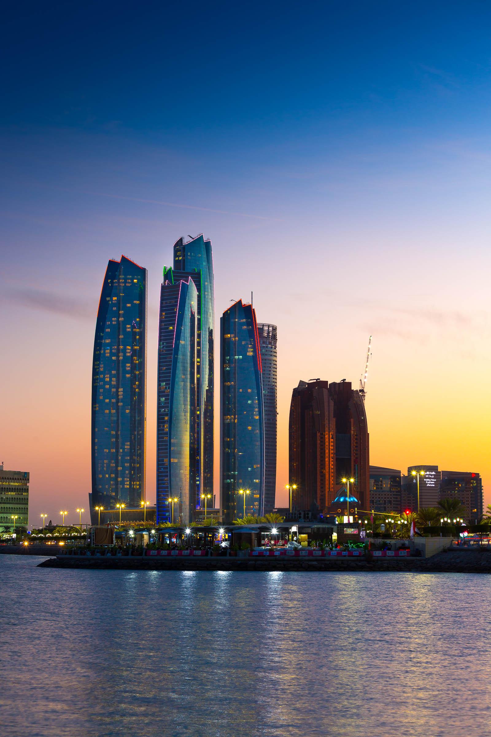abu dhabi etihad towers skyscrapers harbour light arab emirates