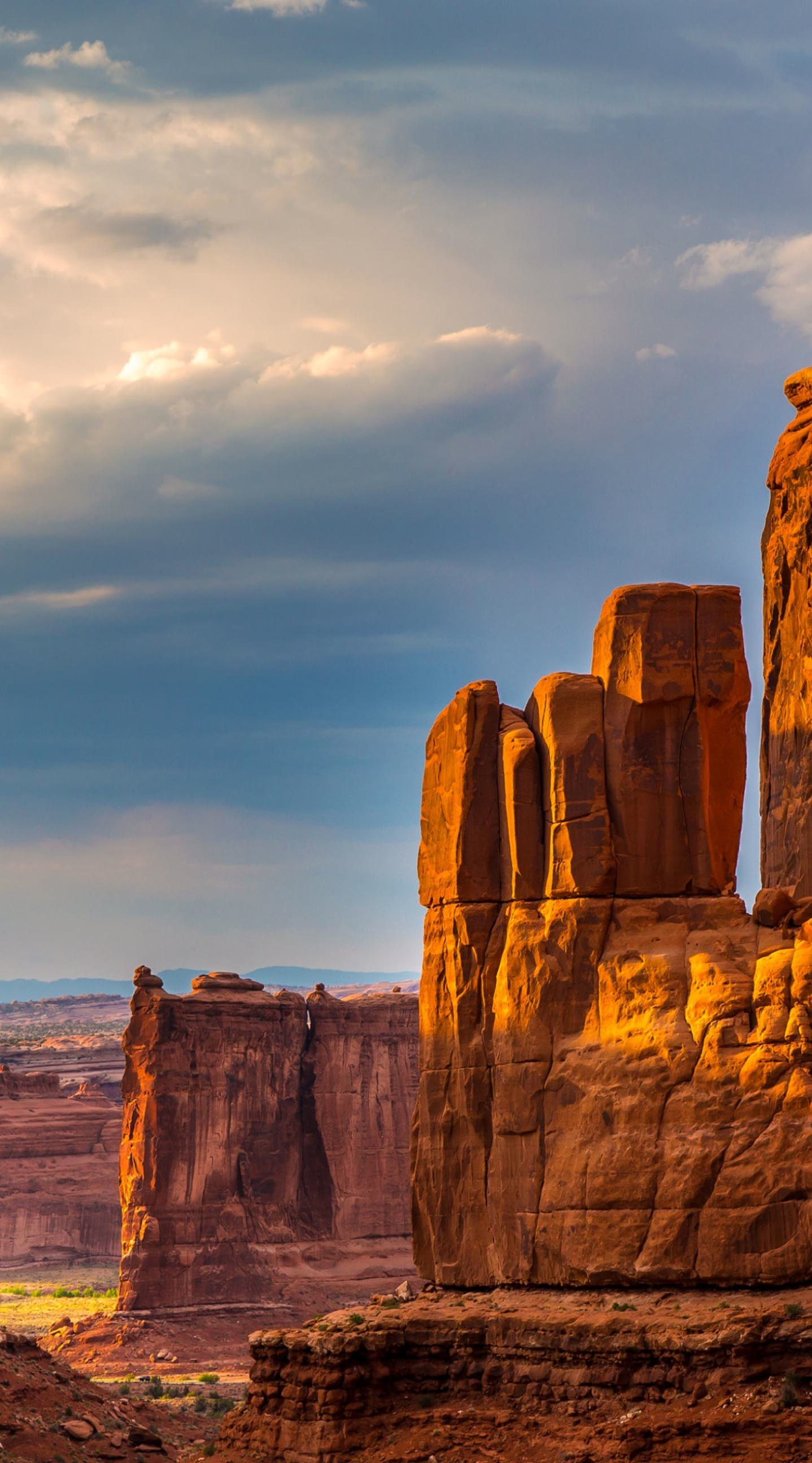 arches national park canyon valley landscape rock ravine travel mountain sky