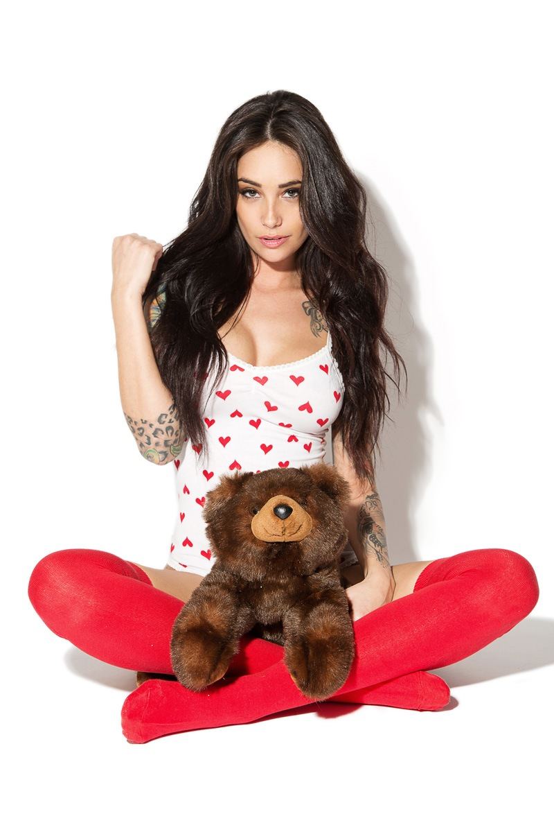 attractive pretty girl happy cute teddy happiness red