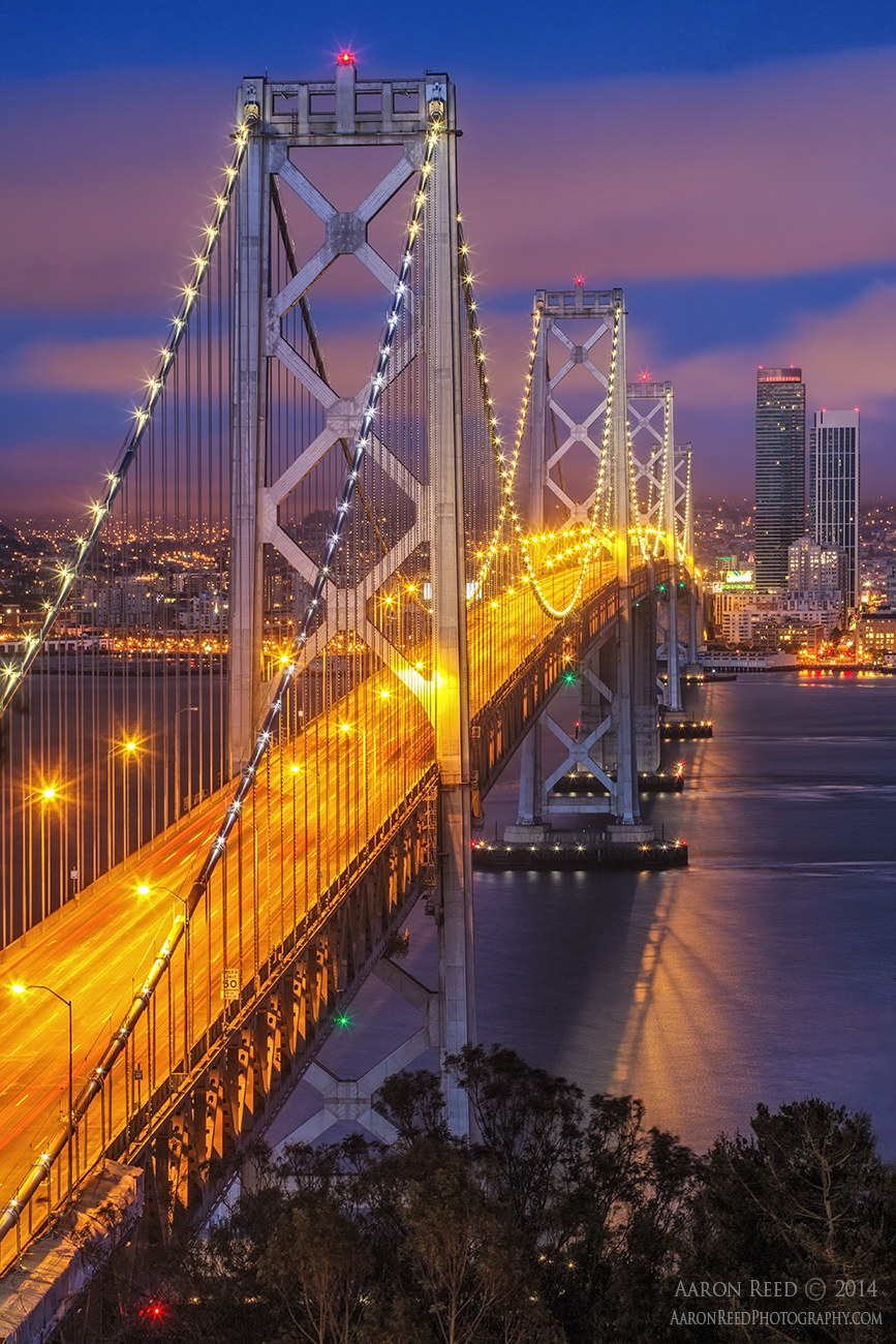 bridge geomerty lights blue sunset