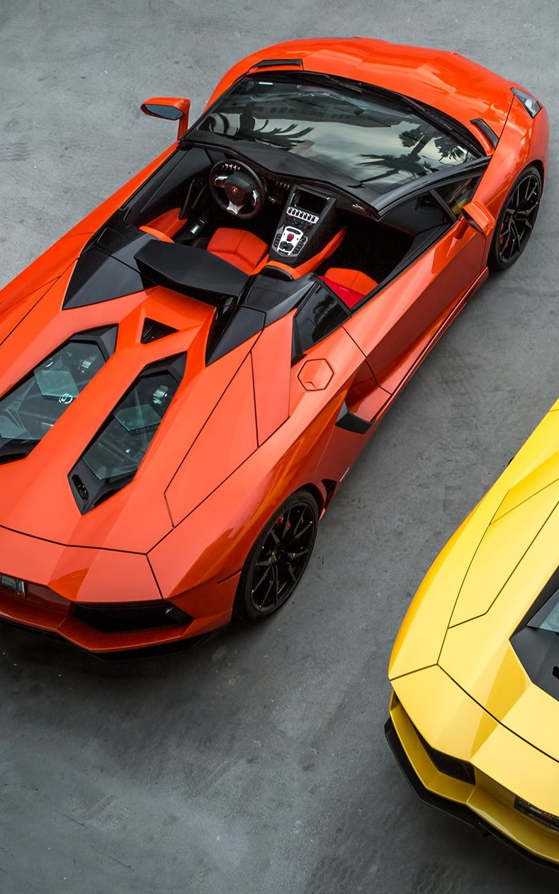 lamborghini aventador roadster orange car motor sports speed drive