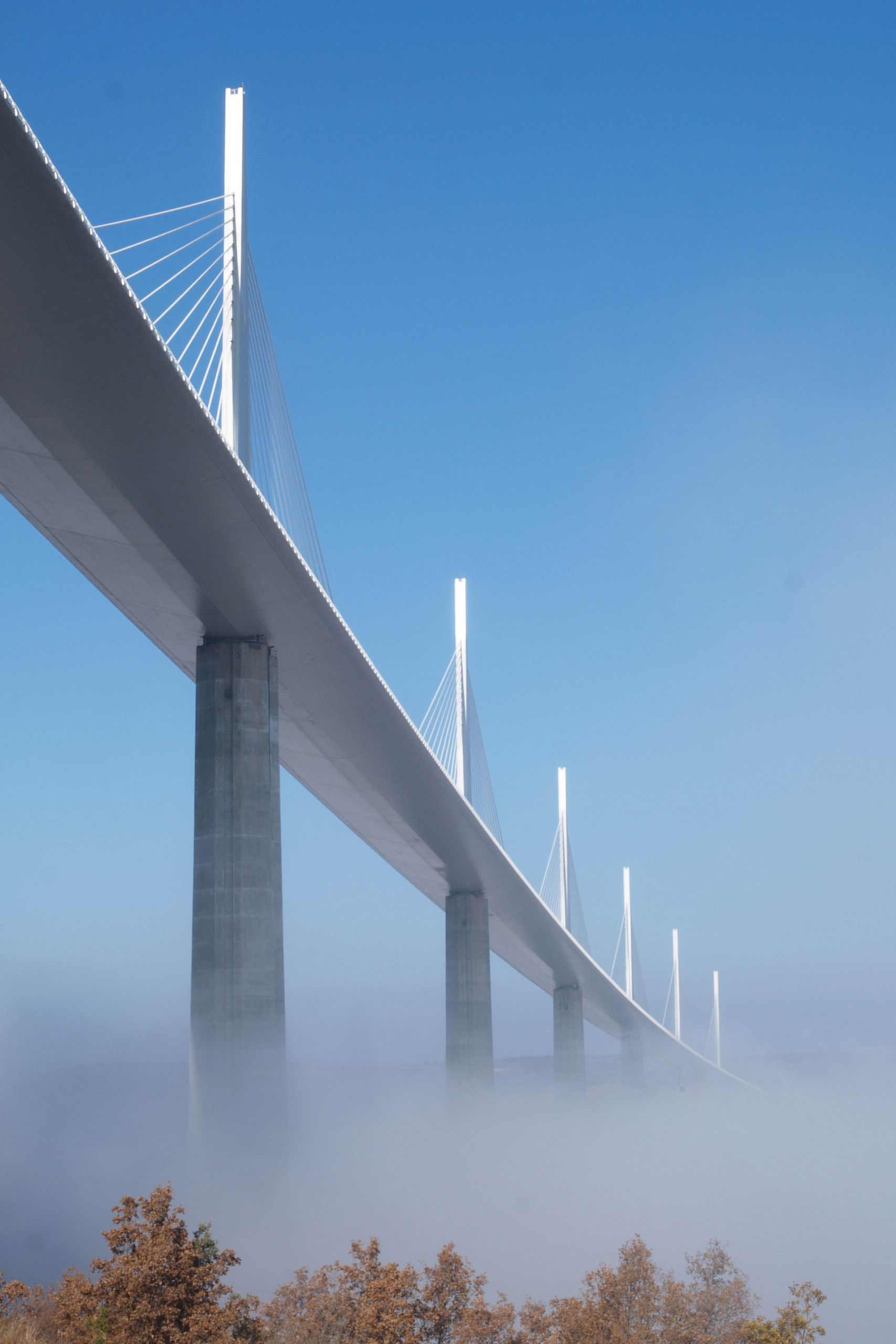 millau bridge white france fog sky bottom view