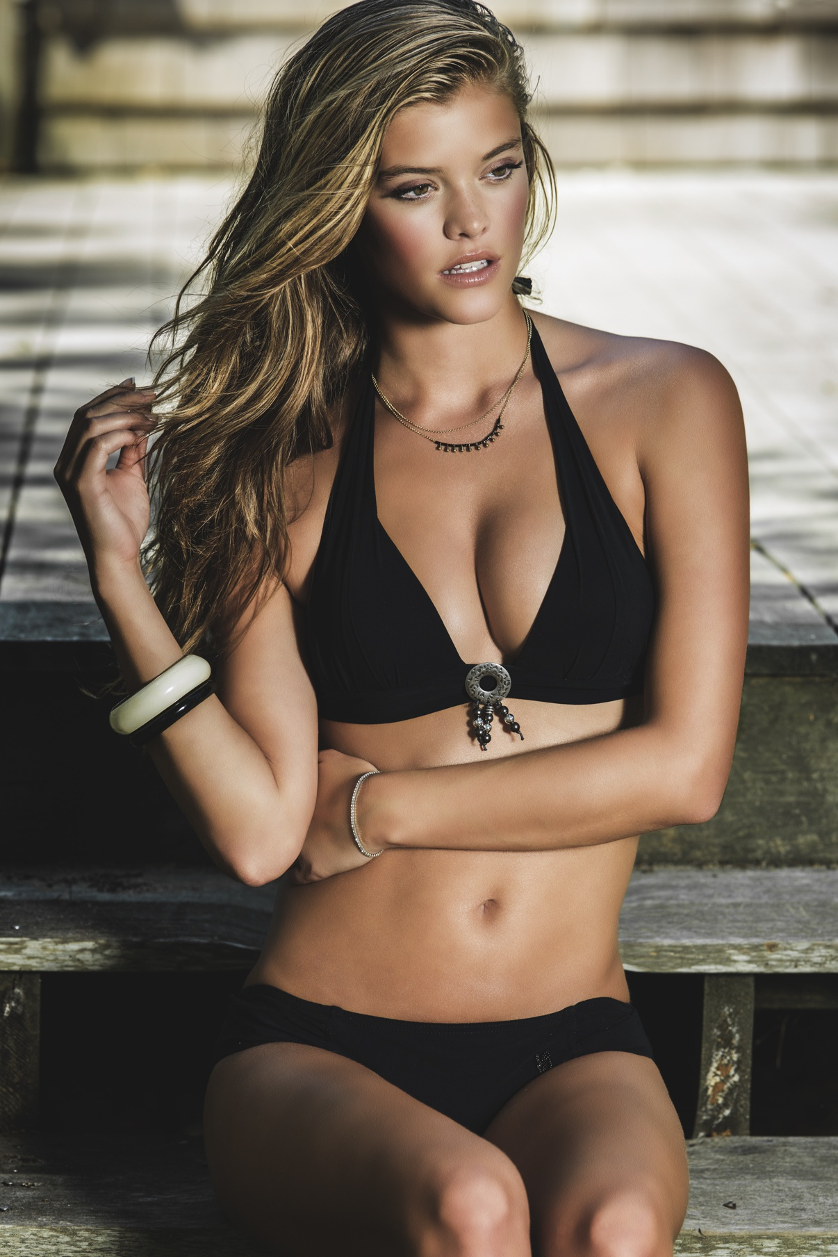 nina agdal girl in banana moon black bikini photoshoot