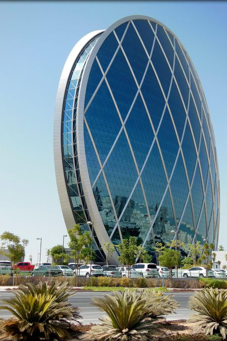 aldar hq building abu dhabi architecture city sky travel steel construction