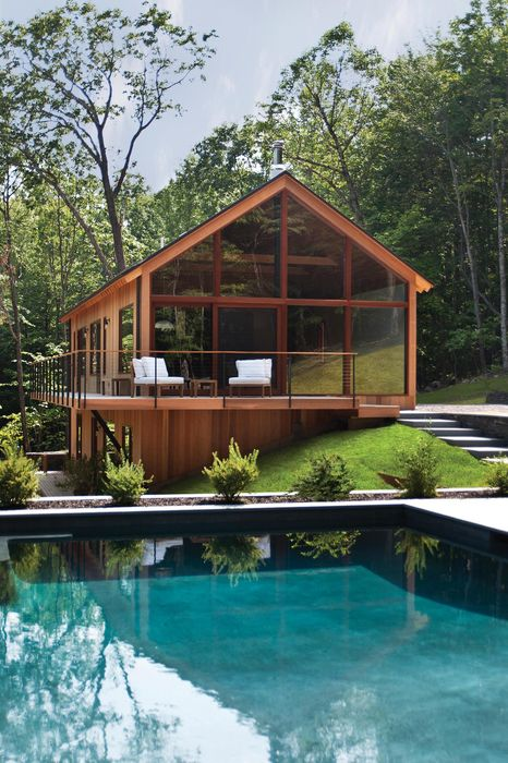 luxury wood glass house bungalow outbuilding architecture structure home roof pool