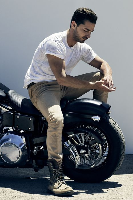 man shia labeouf motorcycle fashio photo actor hollywood