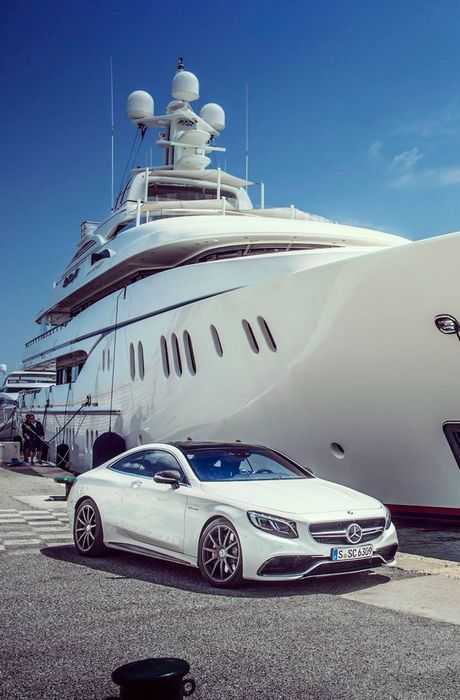 mercedes coupe sky yacht white water travel sun summer day business sea vacation design
