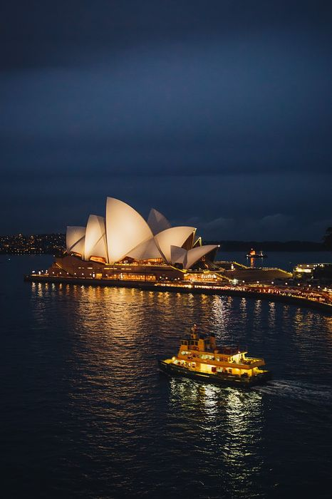 syndey opera harbour ship night australia wallpaper