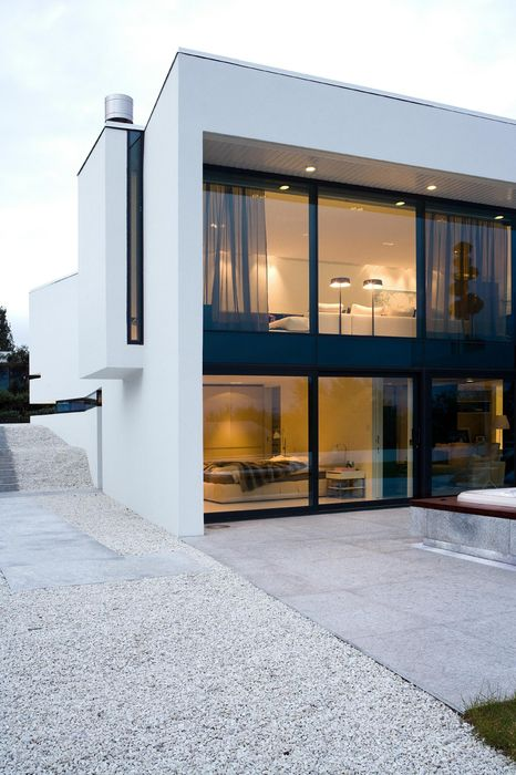 white home interior room house modern architecture door design window