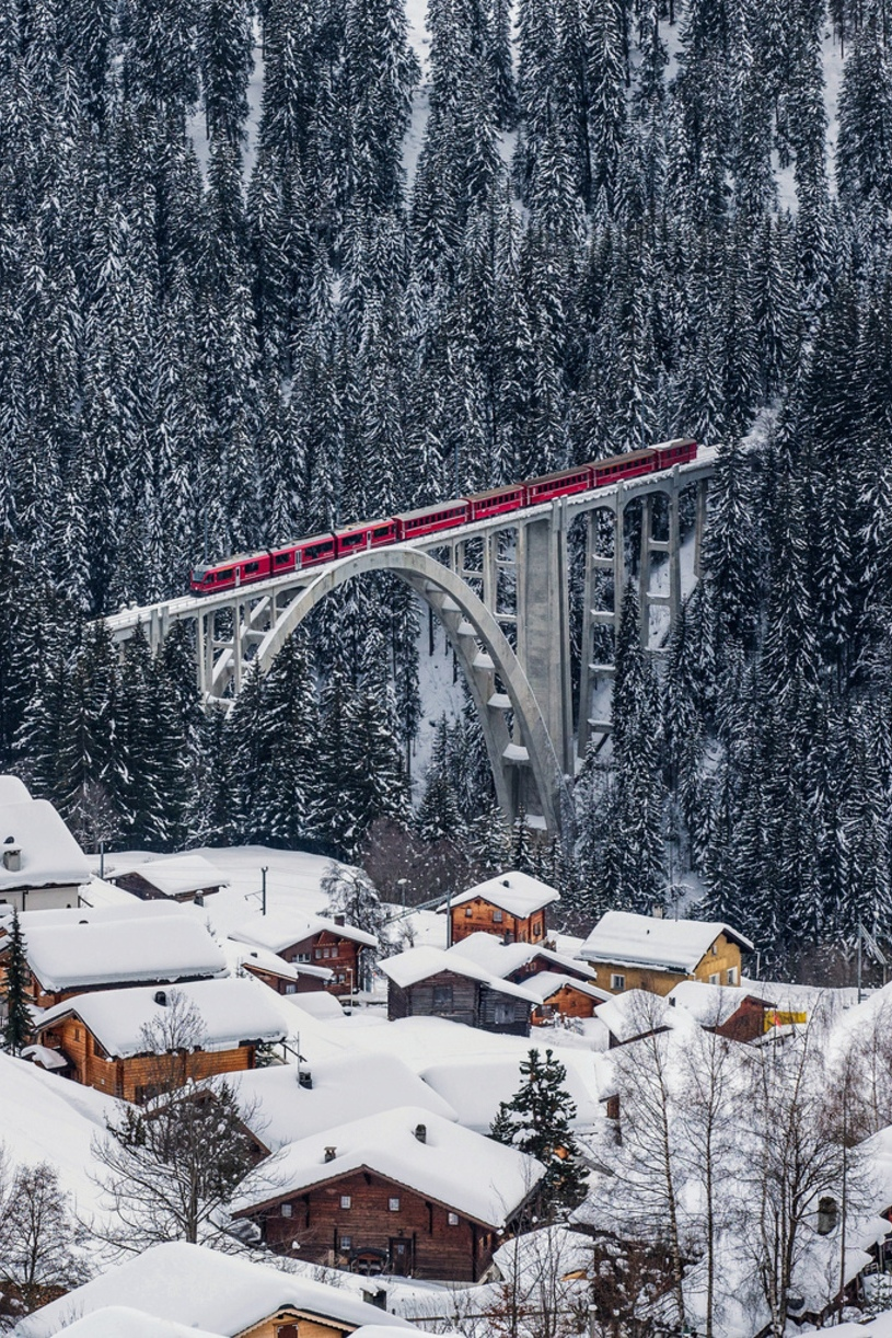 snow forest bridge red train houses atmosphere