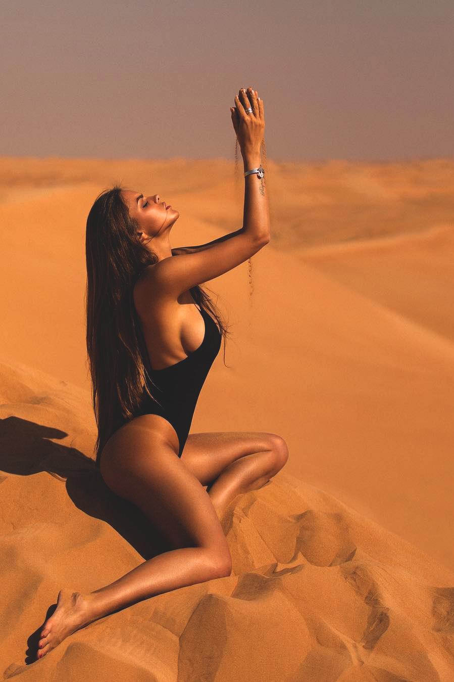 viki odintcova girl sand beach sunset nude woman sun travel fair weather sexy