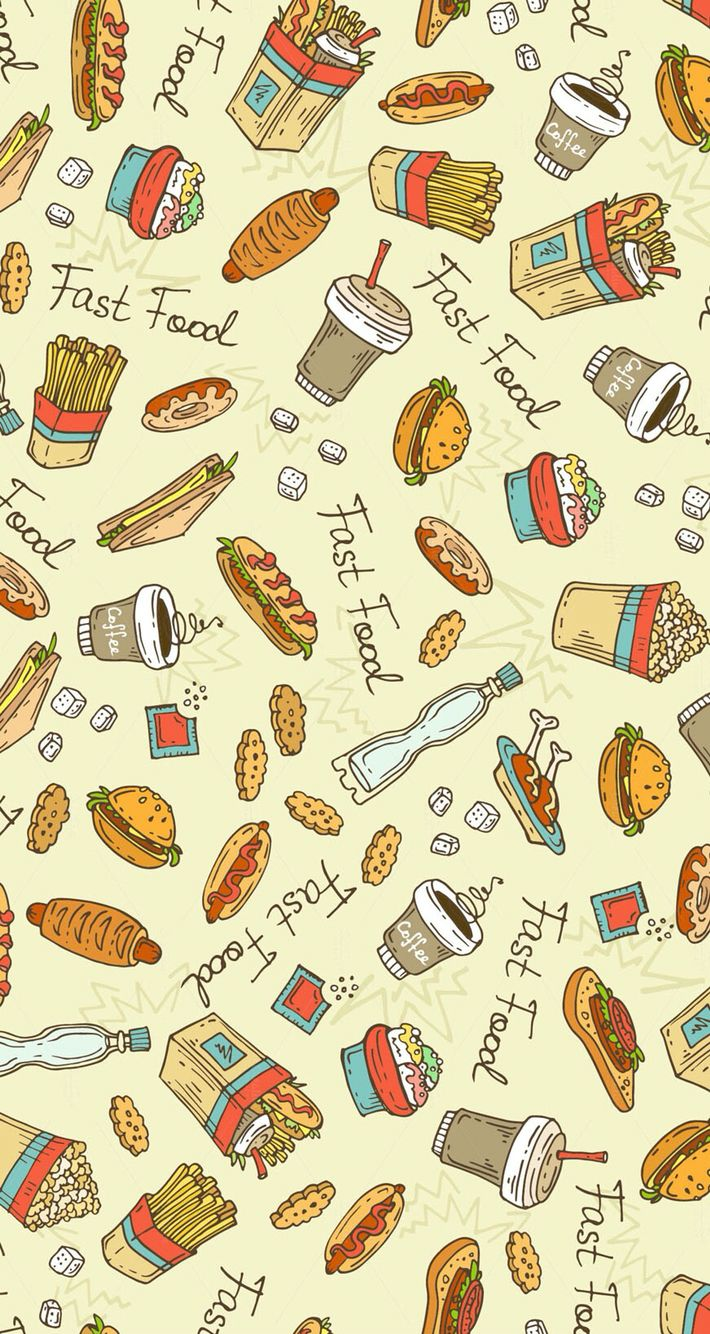 background set seamless food vector illustration cute sketch pattern
