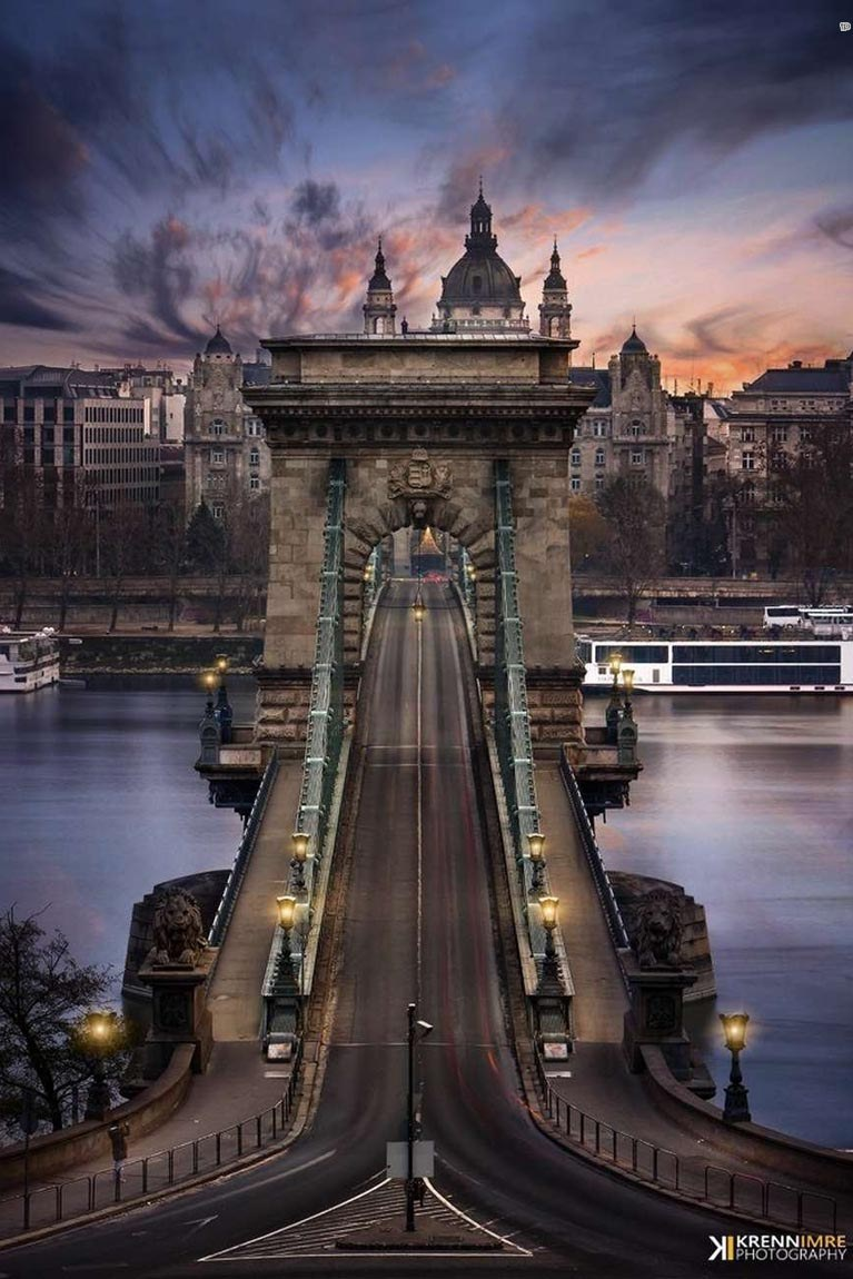 budapest hungary chain bridge architecture city europe river tourism