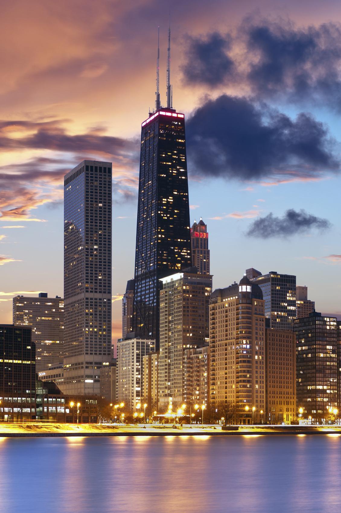 chicago city skyline urban skyscraper building lights metropolitan downtown
