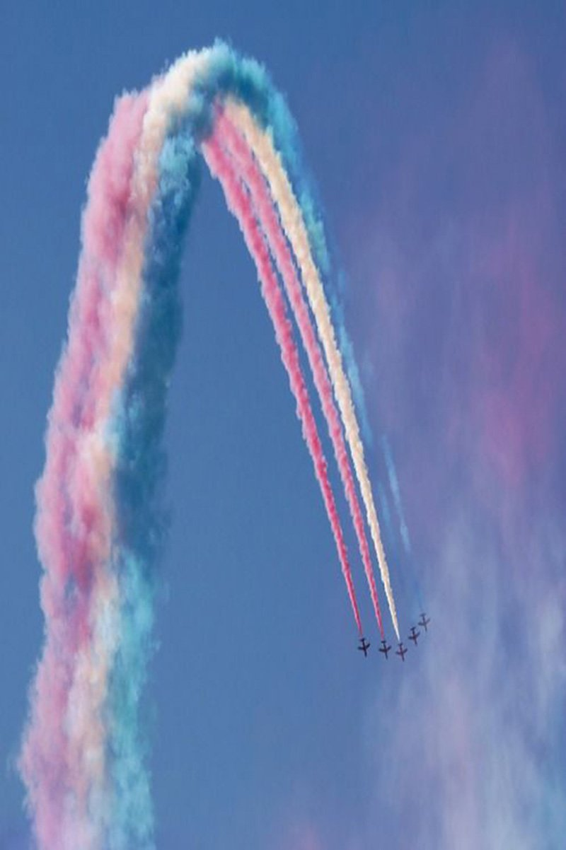 fighters fast smoke aircraft sky airplane people abstract rainbow action speed
