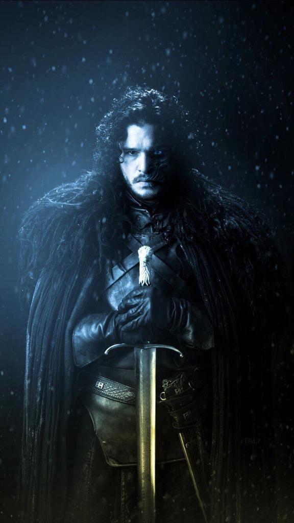 game of thrones got john snow portrait man dark concert wear weapon winter stark