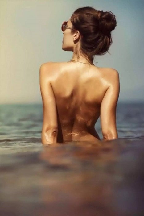 nude water beach girl sexy one portrait adult relaxation fashion
