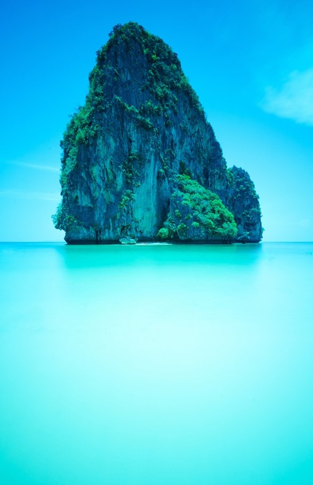 rock island water nature sea beach turquoise ocean travel summer tree tropical sky