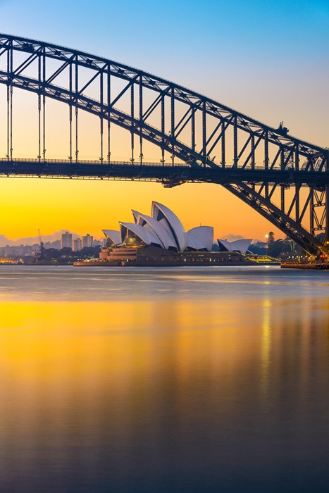 sydney australia opera bridge sunset lights