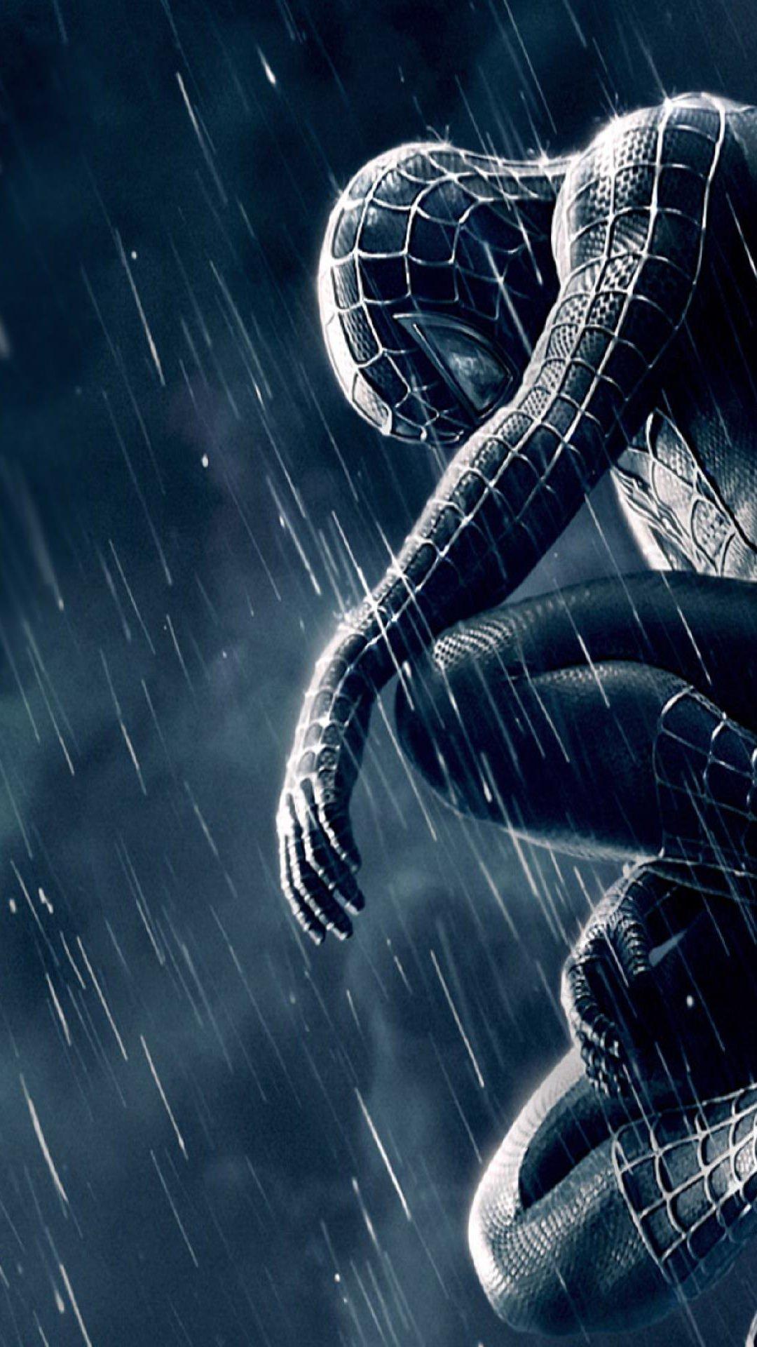spiderman venom black rain illustration dark roof comics