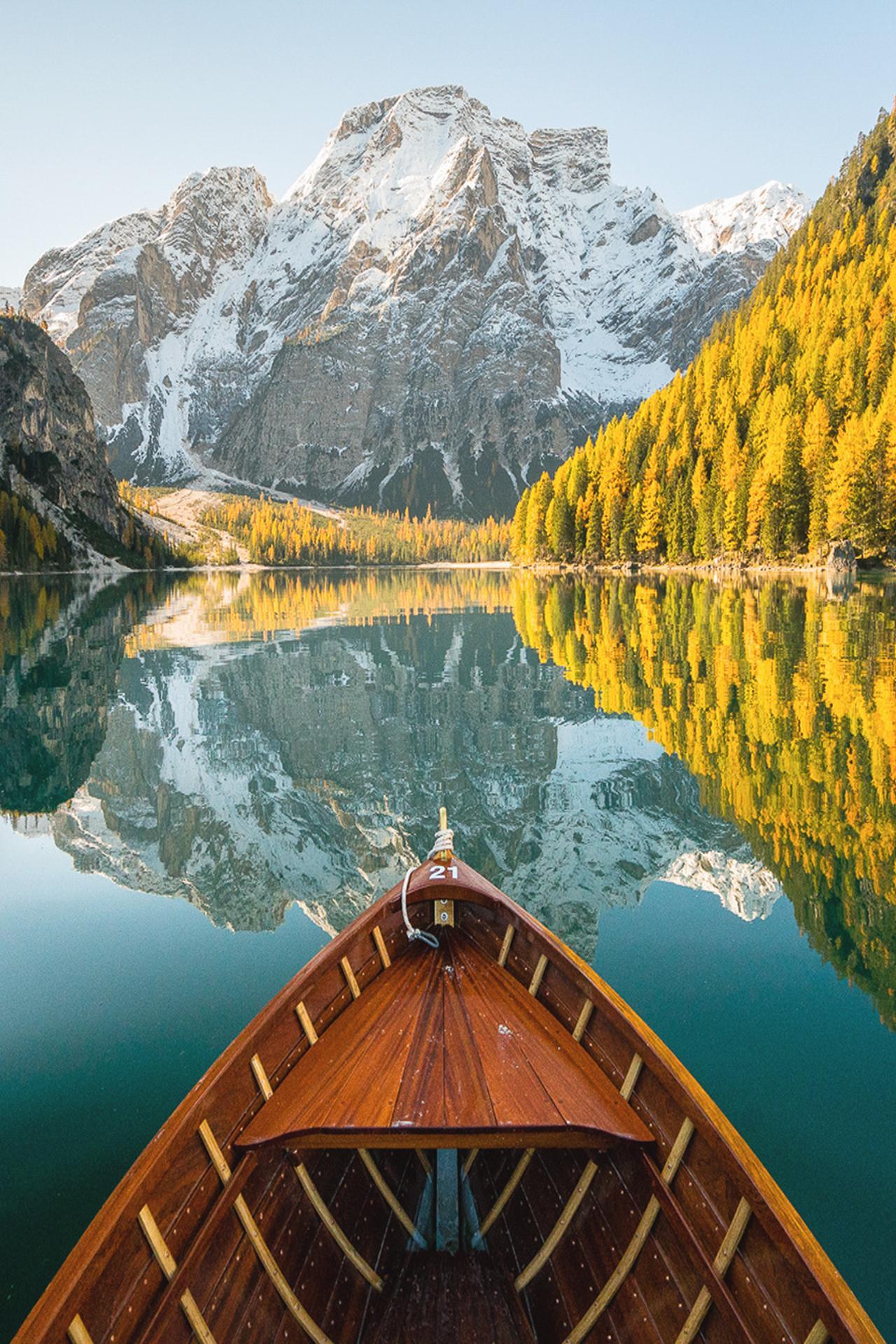 lake mountain boat reflection landscape summer tree sun travel water