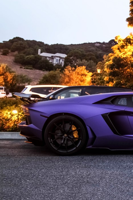 aventador lamborghini violet sportscar road landscape wheel drive daylight
