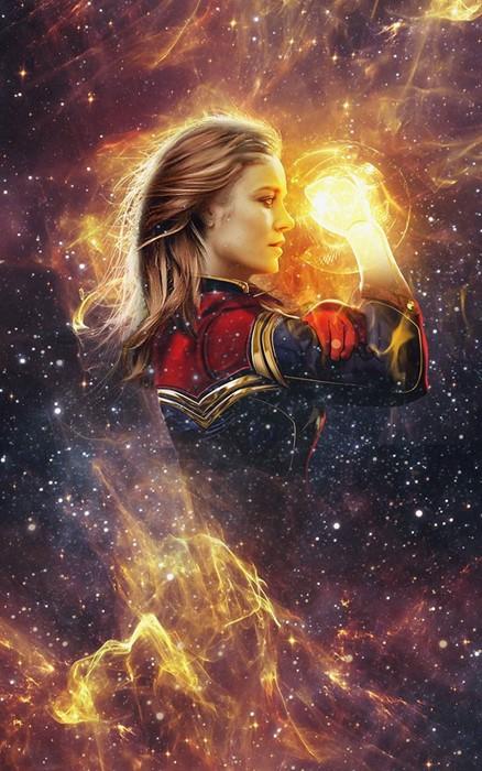 marvel captain woman fantasy luminescence space flame light girl comics