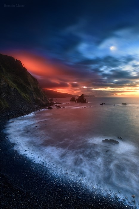 sunset water beach evening dusk landscape ocean sea sky seashore seascape nature