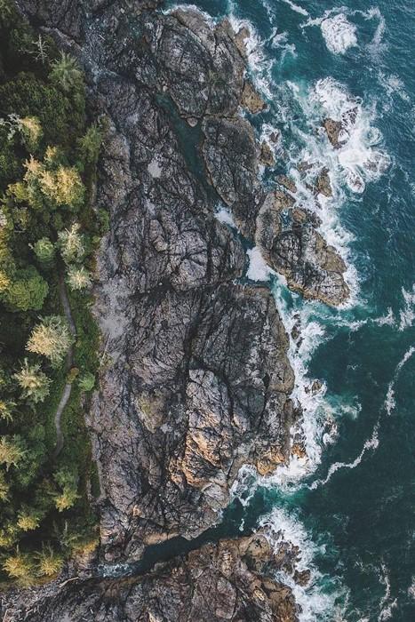 topview ocean cliff geological rock landscape sea water travel reef