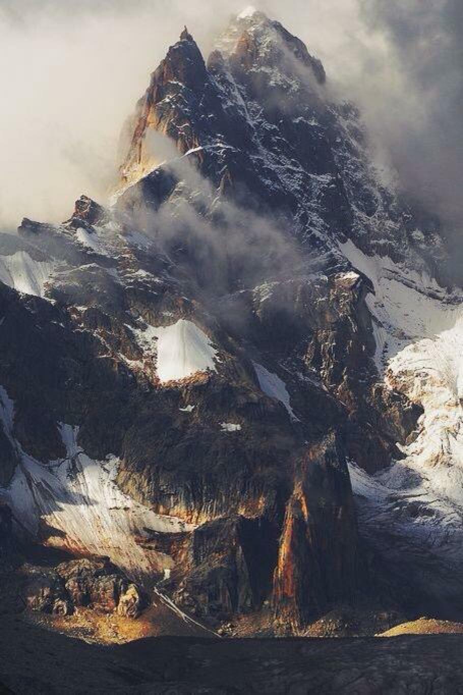 mountain snow rock landscape travel winter fog ice