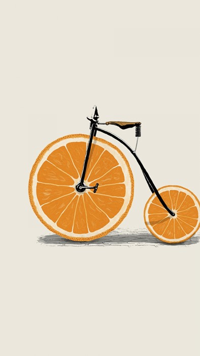 bicycle orange wheel healthy summer color health food fruit tropical bike