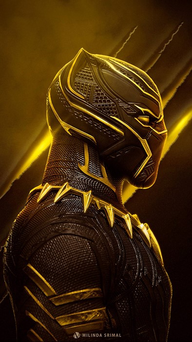 marvel black panther gold art shining design costume wakanda