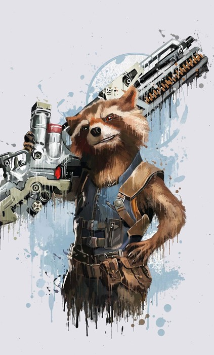 marvel rocket raccoon gun animal weapon illustration mammal art